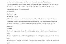 """I Concurs de Poesia Recitada """"Riu de Versos"""" a Guadassuar"""